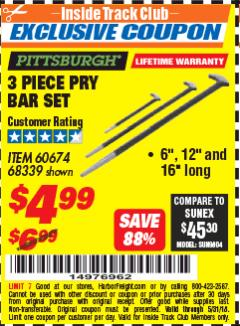 Harbor Freight ITC Coupon 3 PIECE PRY BAR SET Lot No. 60674/68339 Expired: 5/31/18 - $4.99