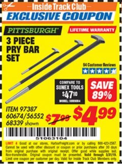 Harbor Freight ITC Coupon 3 PIECE PRY BAR SET Lot No. 60674/68339 Dates Valid: 5/3/19 - 5/31/19 - $4.99