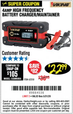 Harbor Freight Coupon 4 AMP FULLY AUTOMATIC MICROPROCESSOR CONTROLLED BATTERY CHARGER/MAINTAINER Lot No. 63350 EXPIRES: 6/30/20 - $22.99