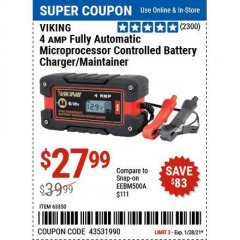 Harbor Freight Coupon 4 AMP FULLY AUTOMATIC MICROPROCESSOR CONTROLLED BATTERY CHARGER/MAINTAINER Lot No. 63350 Valid Thru: 1/29/21 - $27.99