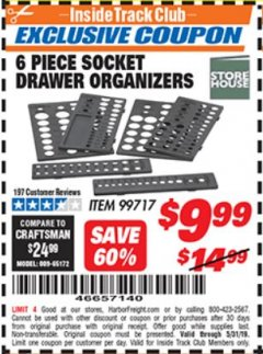 Harbor Freight ITC Coupon 6 PC SOCKET DRAWER ORGANIZERS Lot No. 99717 Dates Valid: 5/3/19 - 5/31/19 - $9.99