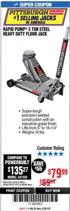 Harbor Freight Coupon RAPID PUMP 3 TON STEEL HEAVY DUTY FLOOR JACK Lot No. 64261, 64265, 64875, 64260, 69227, 62116, 68048 EXPIRES: 5/26/19 - $79.99