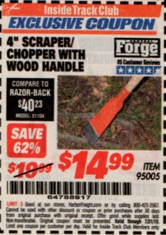 "Harbor Freight ITC Coupon 4"" SCRAPER/CHOPPER WITH WOOD HANDLE Lot No. 95005 Expired: 7/31/19 - $14.99"