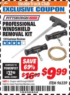 Harbor Freight ITC Coupon PROFESSIONAL WINDSHIELD REMOVAL KIT Lot No. 96339 Expired: 6/30/20 - $9.99