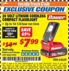 Harbor Freight ITC Coupon 20 VOLT LITHIUM CORDLESS COMPACT FLASHLIGHT Lot No. 63628 Dates Valid: 12/31/69 - 5/31/19 - $7.99