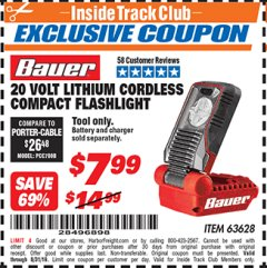 Harbor Freight ITC Coupon 20 VOLT LITHIUM CORDLESS COMPACT FLASHLIGHT Lot No. 63628 Expired: 8/31/19 - $7.99