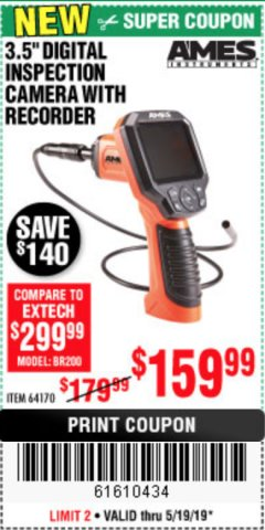 "Harbor Freight Coupon 3.5"" DIGITAL INSPECTION CAMERA WITH RECORDER Lot No. 64170 EXPIRES: 5/19/19 - $159.99"