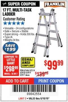 Harbor Freight Coupon 17 FT. MULTI-TASK LADDER Lot No. 67646/62514/63418/63419/63417 Expired: 6/16/19 - $99.99