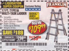 Harbor Freight Coupon 17 FT. MULTI-TASK LADDER Lot No. 67646/62514/63418/63419/63417 Expired: 7/31/19 - $109.99