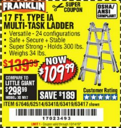 Harbor Freight Coupon 17 FT. MULTI-TASK LADDER Lot No. 67646/62514/63418/63419/63417 Expired: 10/14/19 - $109.99