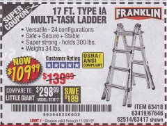 Harbor Freight Coupon 17 FT. MULTI-TASK LADDER Lot No. 67646/62514/63418/63419/63417 Expired: 11/28/19 - $109.99
