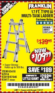 Harbor Freight Coupon 17 FT. MULTI-TASK LADDER Lot No. 67646/62514/63418/63419/63417 Expired: 11/9/19 - $109.99