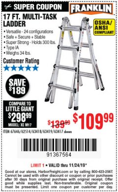 Harbor Freight Coupon 17 FT. MULTI-TASK LADDER Lot No. 67646/62514/63418/63419/63417 Expired: 11/24/19 - $109.99