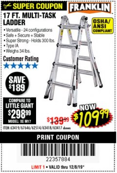 Harbor Freight Coupon 17 FT. MULTI-TASK LADDER Lot No. 67646/62514/63418/63419/63417 Expired: 12/8/19 - $109.99