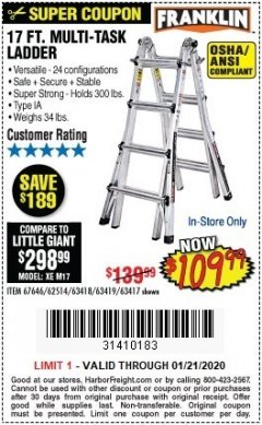 Harbor Freight Coupon 17 FT. MULTI-TASK LADDER Lot No. 67646/62514/63418/63419/63417 Valid Thru: 1/21/20 - $109.99