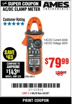 Harbor Freight Coupon 600A T-RMS AC/DC CLAMP METER Lot No. 64015 EXPIRES: 6/30/20 - $79.99