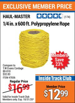 "Harbor Freight ITC Coupon 1/4"" X 600 FT. POLYPROPYLENE ROPE Lot No. 47836/62751 Expired: 10/31/20 - $12.99"