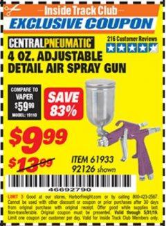 Harbor Freight ITC Coupon 4 OZ. ADJUSTABLE DETAIL SPRAY GUN Lot No. 61933/92126 Dates Valid: 5/3/19 - 5/31/19 - $9.99