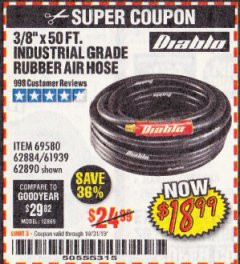 "Harbor Freight Coupon DIABLO 3/8"" X 50 FT. INDUSTRIAL GRADE RUBBER AIR HOSE Lot No. 62884 69580 61939 62890 Expired: 10/31/19 - $18.99"