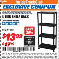 Harbor Freight ITC Coupon 4-TIER SHELF RACK Lot No. 91883 Expired: 4/30/19 - $13.99