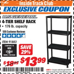 Harbor Freight ITC Coupon 4-TIER SHELF RACK Lot No. 91883 Expired: 2/29/20 - $13.99