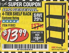 Harbor Freight Coupon 4-TIER SHELF RACK Lot No. 91883 Expired: 4/30/19 - $13.99