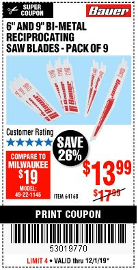 "Harbor Freight Coupon 6"" AND 9"" BI-METAL RECIPROCATING SAW BLADES -PACK OF 9 Lot No. 64168 Expired: 12/1/19 - $13.99"