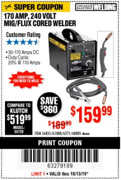 Harbor Freight Coupon 170 AM MIG/FLUX CORED WELDER Lot No. 6271/97503/61888/68885 Expired: 10/13/19 - $159.99