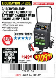 Harbor Freight Coupon CEN-TECH 2/10/40/200 AMP 6/12 VOLT AUTOMATIC BATTERY CHARGER WITH ENGINE JUMP START Lot No. 63423/56422/63873 Expired: 10/31/19 - $109.99