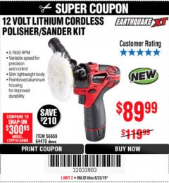Harbor Freight Coupon 12 VOLT LITHIUM CORDLESS POLISHER/SANDER KIT Lot No. 56659 Expired: 6/23/19 - $89.99