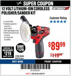 Harbor Freight Coupon 12 VOLT LITHIUM CORDLESS POLISHER/SANDER KIT Lot No. 56659 Expired: 9/29/19 - $89.99