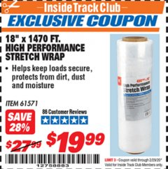 "Harbor Freight ITC Coupon 18""  1470 FT. HIGH PERFORMANCE STRETCH WRAP Lot No. 61571/94172 Expired: 2/29/20 - $19.99"
