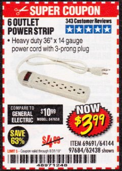 Harbor Freight Coupon 6 OUTLET POWER STRIP Lot No. 69691, 64144, 97684, 62438 Expired: 8/31/19 - $3.99