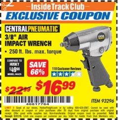 "Harbor Freight ITC Coupon 3/8"" AIR IMPACT WRENCH Lot No. 93296 Dates Valid: 5/3/19 - 5/31/19 - $16.99"
