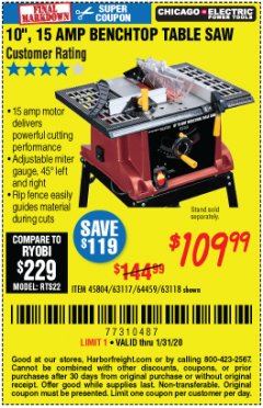 "Harbor Freight Coupon 10"", 15 AMP BENCHTOP TABLE SAW Lot No. 45804/63117/64459/63118 Expired: 1/31/20 - $109.99"