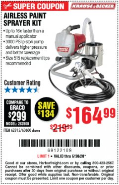 Harbor Freight Coupon KRAUSE & BECKER Lot No. 60600, 62915 EXPIRES: 6/30/20 - $164.99