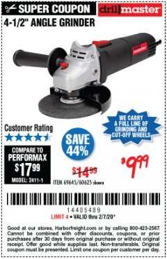 "Harbor Freight Coupon 4-1/2"" ANGLE GRINDER 4.3 AMP MOTOR Lot No. 69645/60625 Expired: 2/7/20 - $9.99"