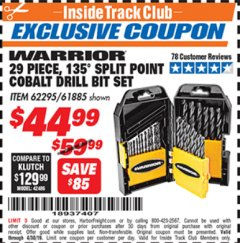 Harbor Freight ITC Coupon 29 PIECE 135 SPLIT POINT COBALT DRILL BIT SET Lot No. 36891/62295/61885 Expired: 4/30/19 - $44.99
