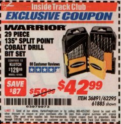 Harbor Freight ITC Coupon 29 PIECE 135 SPLIT POINT COBALT DRILL BIT SET Lot No. 36891/62295/61885 Expired: 7/31/19 - $42.99