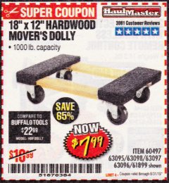 "Harbor Freight Coupon 18""X12"", 1000 LB. HARDWOOD MOVER'S DOLLY Lot No. 63095/63098/63097/60497/63096/61899 Expired: 8/31/19 - $7.99"