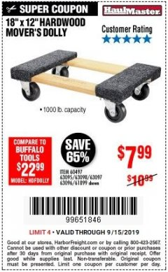 "Harbor Freight Coupon 18""X12"", 1000 LB. HARDWOOD MOVER'S DOLLY Lot No. 63095/63098/63097/60497/63096/61899 Expired: 9/15/19 - $7.99"