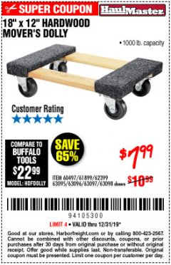 "Harbor Freight Coupon 18""X12"", 1000 LB. HARDWOOD MOVER'S DOLLY Lot No. 63095/63098/63097/60497/63096/61899 Expired: 12/31/19 - $7.99"