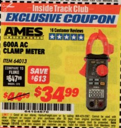 Harbor Freight ITC Coupon 600A AC CLAMP METER Lot No. 64013 Expired: 7/31/19 - $34.99
