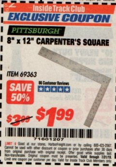 "Harbor Freight ITC Coupon 8"" X 12"" CARPENTER'S SQUARE Lot No. 69363 Expired: 7/31/19 - $1.99"