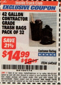 Harbor Freight ITC Coupon 24 GALLON CONTRACTOR GRADE TRASH BAGS PACK OF 32 Lot No. 64068 Expired: 7/31/19 - $14.99