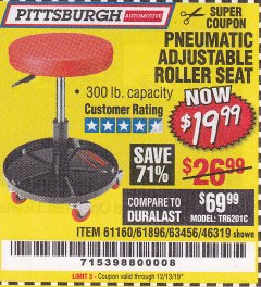 Harbor Freight Coupon MECHANIC'S ROLLER SEAT, PNEUMATIC ADJUSTABLE ROLLER SEAT Lot No. 61653, 3338, 61896, 61160, 63456, 46319 Expired: 12/13/19 - $19.99