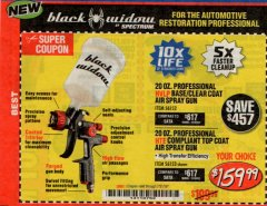 Harbor Freight Coupon BLACK WIDOW 20 OZ. PROFESSIONAL HVLP BASE/CLEAR COAT AIR SPRAY GUN, 20 OZ. PROFESSIONAL HTE COMPLIANT TOP COAT AIR SPRAY GUN Lot No. 56152/56153 Expired: 7/31/19 - $159.99