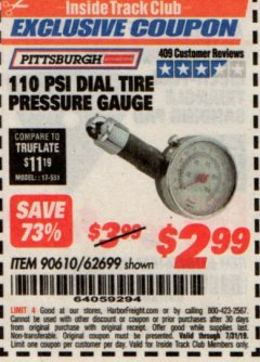 Harbor Freight ITC Coupon 110 PSI DIAL TIRE PRESSURE GAUGE Lot No. 90610, 62699 Expired: 7/31/19 - $2.99