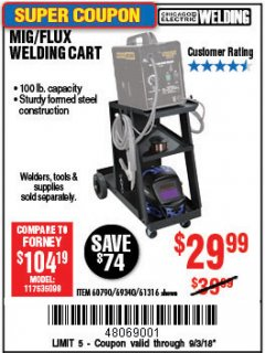 Harbor Freight Coupon MIG-FLUX WELDING CART Lot No. 69340/60790/90305/61316 Expired: 9/3/18 - $29.99