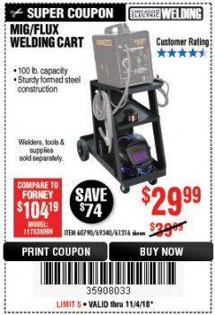 Harbor Freight Coupon MIG-FLUX WELDING CART Lot No. 69340/60790/90305/61316 Expired: 11/4/18 - $29.99